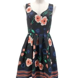 Modcloth Pin-up Floral Fit & Flare Dress Blue
